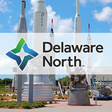 Delaware North logo over visitors center at KSC