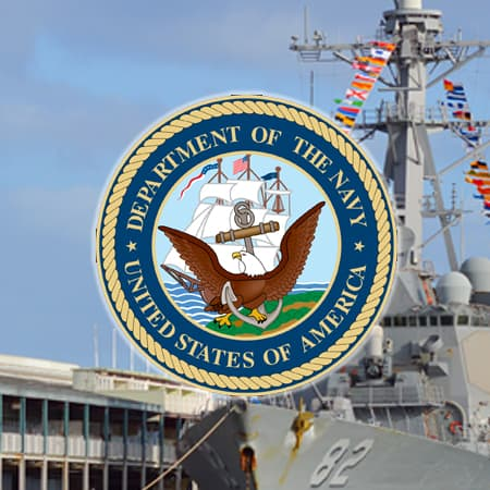US Navy Logo over ship in background