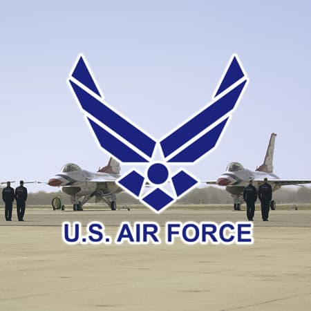 us air force logo and planes on tarmac