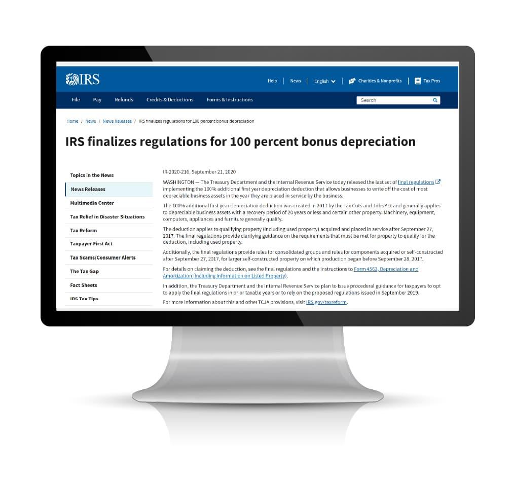 IRS Announces Bonus Year Depreciation